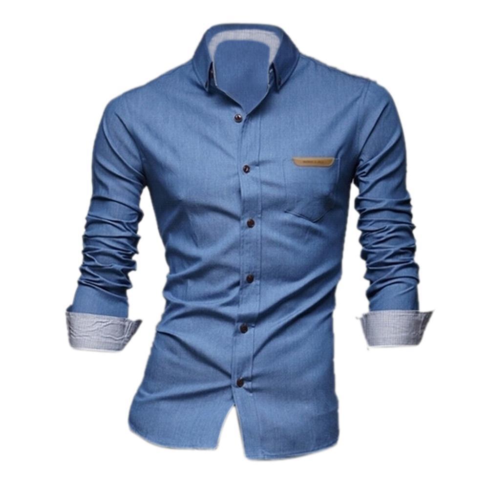 Imc людей корея мода однобортный с длинным рукавом весной джинсовые рубашки ( голубой )