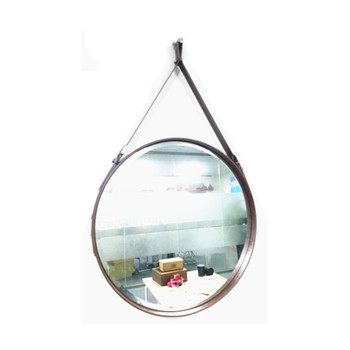Oval Hotel Bathroom Wall Mounted Magnifying Mirror With Leather