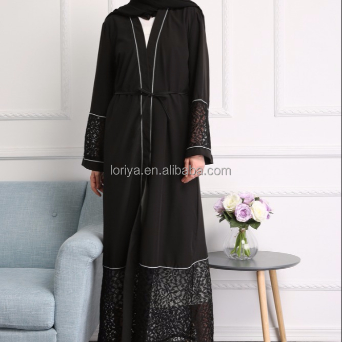 Abaya front open embroidered dubai fancy kaftan muslim dress fashion abaya