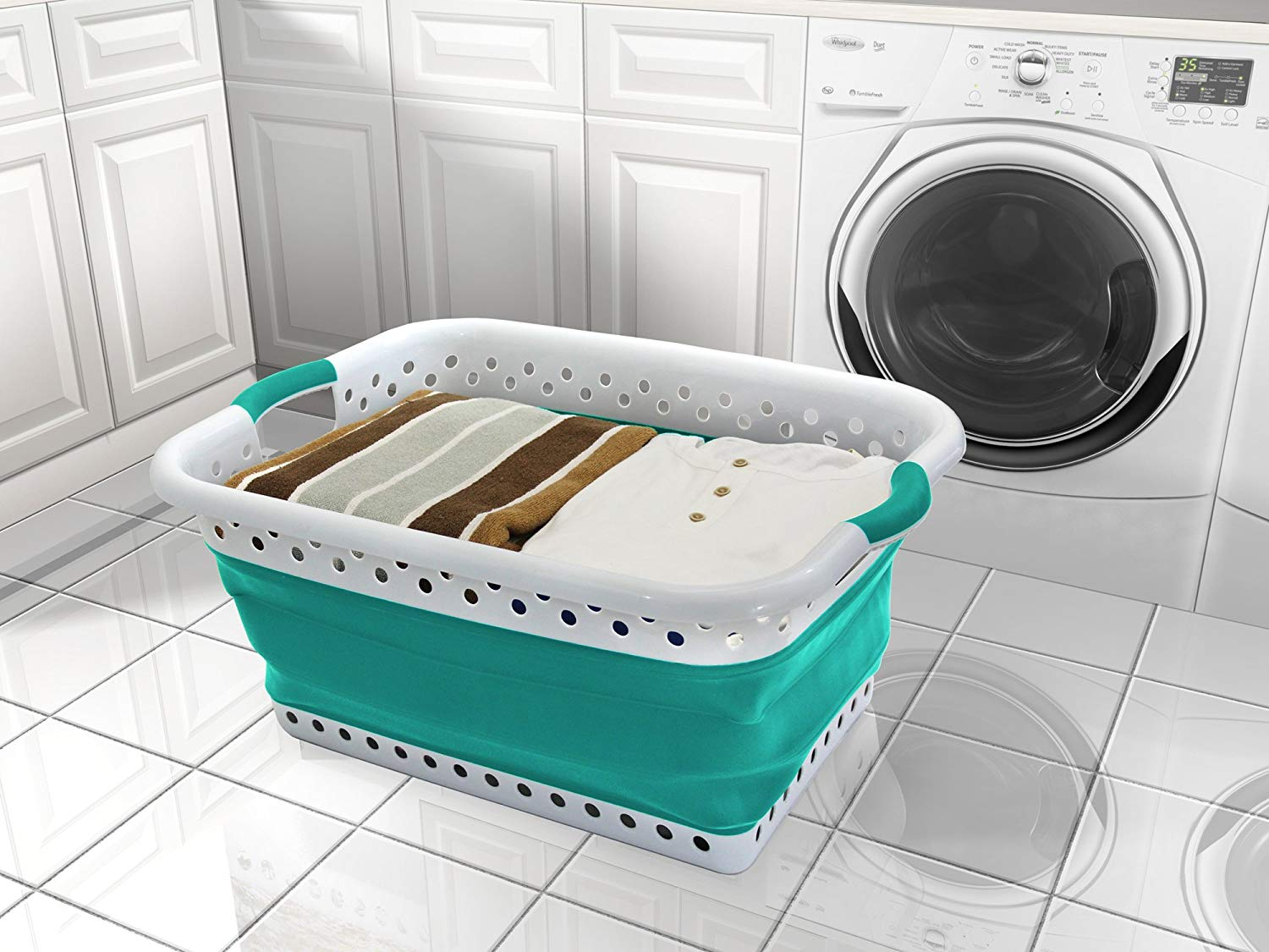 "Collapsible Laundry Basket Large Capacity In Teal/White; Pop & Load Pop & Load Collection Made With Silicone Basket Which Collapses To 3"" High; Dimensions: 11"" (H) 18"" (W) 25"" (L) Fully Expanded"