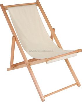 Adjule Folding Wood Cabana Beach Chair
