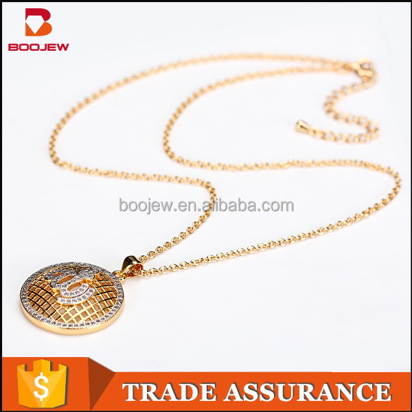 Saudi gold jewelry wholesale two color plating zircon stone 925 sterling silver Allah pendant jewelry