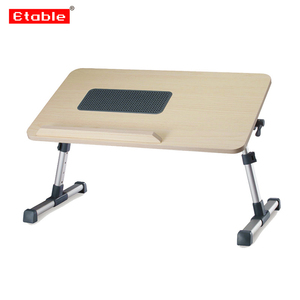 Stable Height and Angle Adjustable Wood Laptop Table with fan