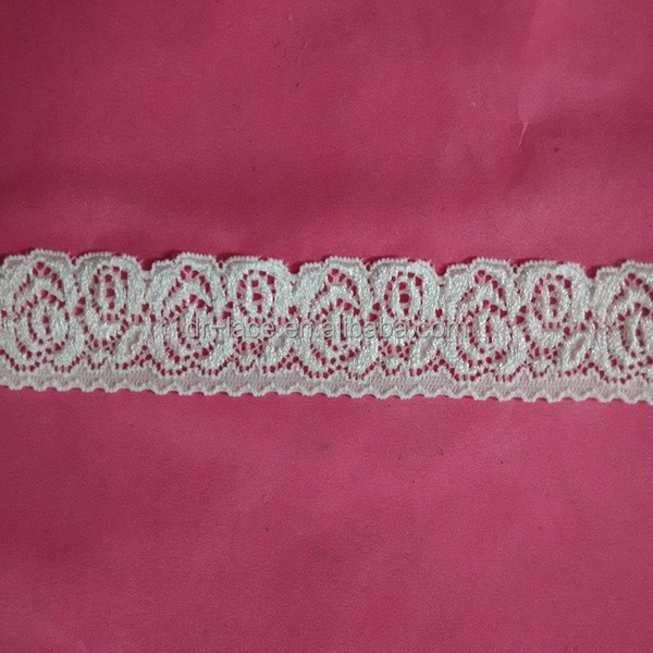 Ivory Color Stretch <strong>Lace</strong> Swiss voile <strong>Lace</strong> Trim marketed in <strong>Dubai</strong>