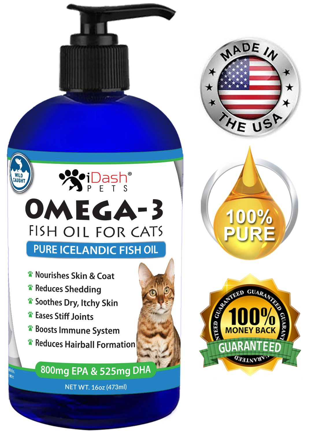 Ultra Pure Omega 3 Fish Oil for Cats– Reduces Shedding & Hairball Formation, Soothes Dry Itchy Skin, Rich Source of Essential EPA/DHA Fatty Acids, Fresh Wild Caught Cat Fish Oil, Odor Free, 16 oz pump