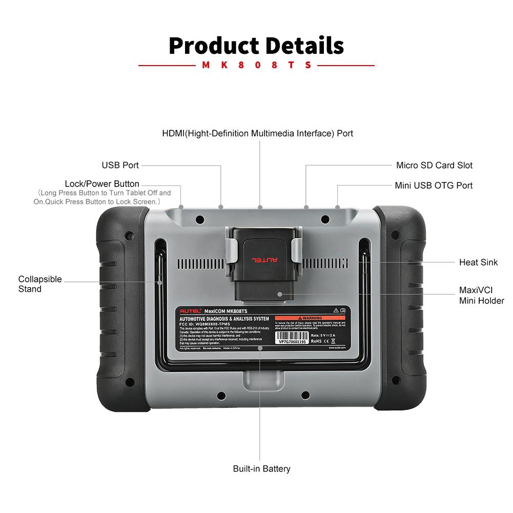 Autel MaxiCOM MK808TS système de Moniteur De Pression des Pneus tpms capteur multi outil de diagnostic de véhicule