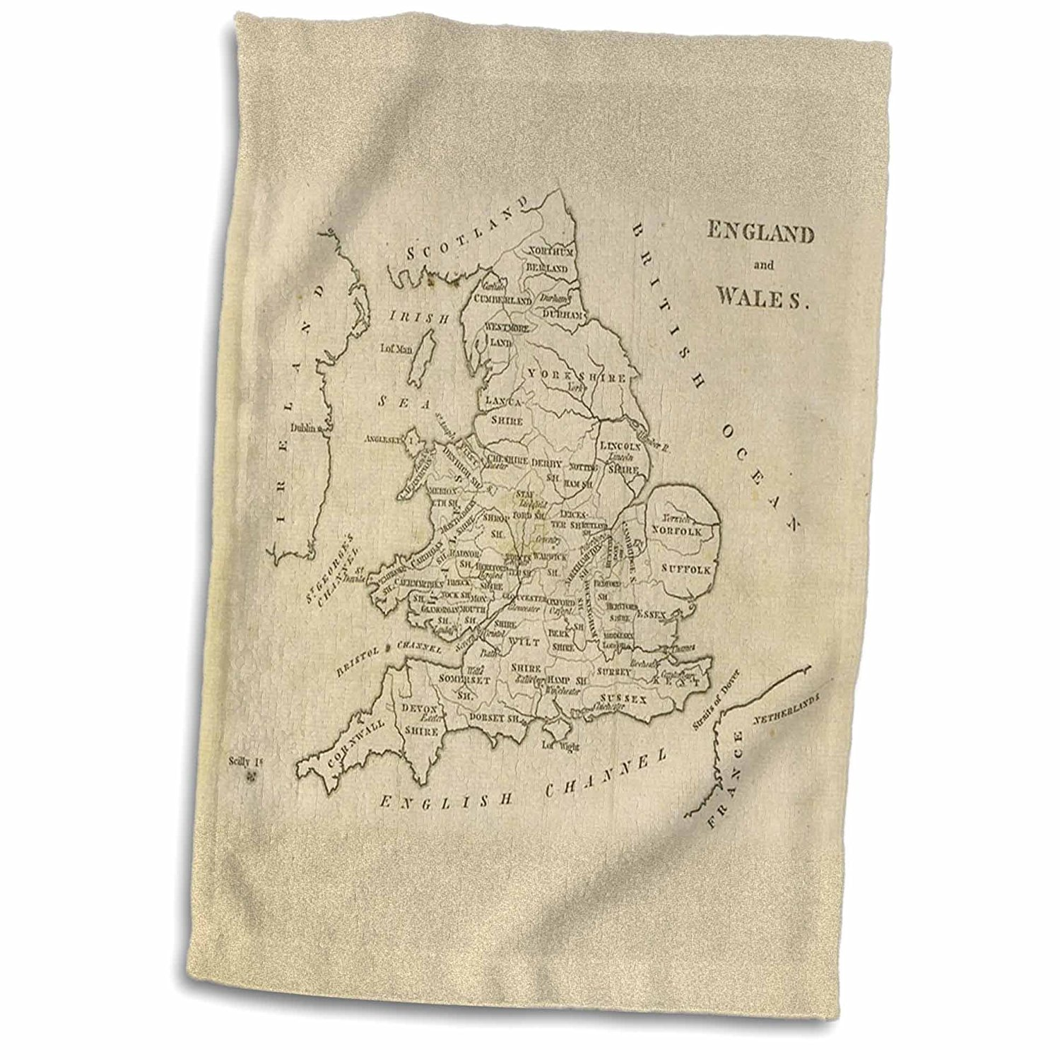 3dRose Florene - Vintage Maps - Print of England And Wales 1800 - 12x18 Towel (twl_204009_1)
