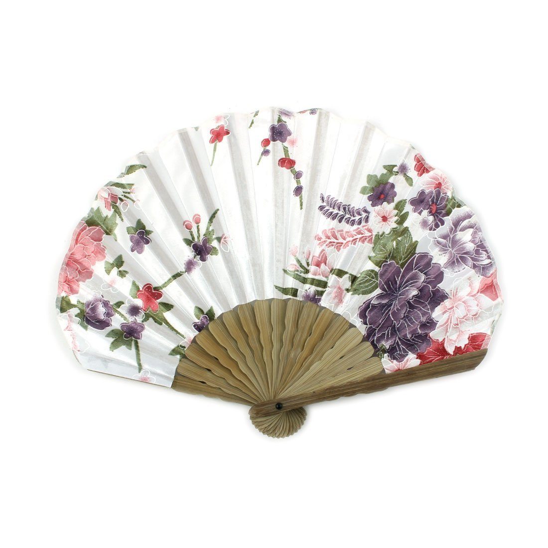 uxcell Peony Blossom Print Ladies Summer Hand-held Folding Dancing Hand Fan Colorful