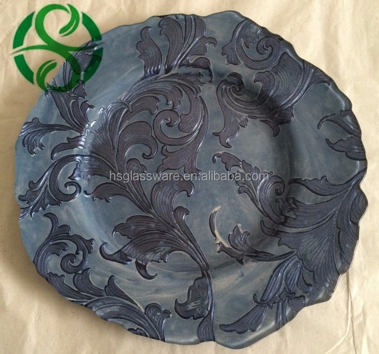 ChargeIt Round Glass Charger Plates Dining Table Decorative Elegant New