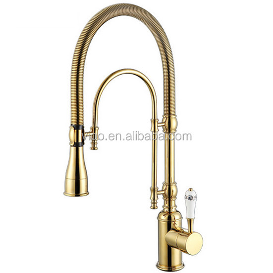 Gold Commercial Style Pre Rinse Kitchen Faucet With Pot Filler 1206 Pb Polish Br