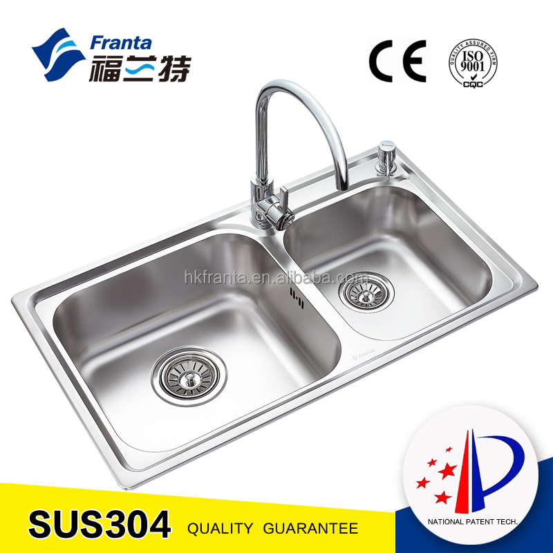 stainless double bowl topmount kitchen basin sink