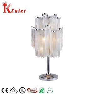 Zhongshan factory G9 luxury style living room nickel crystal chain table lamp
