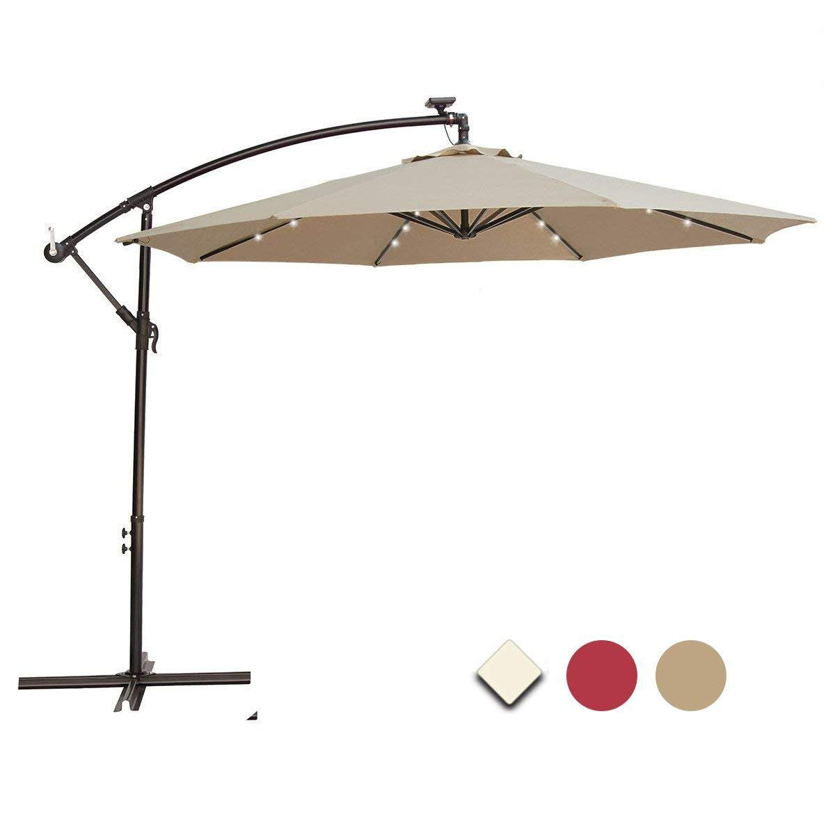 Get Quotations · SUNNYARD 10 Ft Solar Powered 24 LED Lights Cantilever  Offset Patio Umbrella with Crank, 8 - Cheap Solar Offset Umbrella, Find Solar Offset Umbrella Deals On