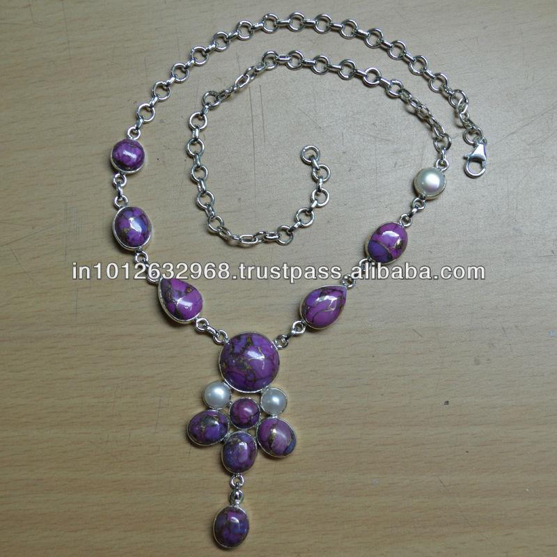 32 Gm Purple Turquoise, Pearl, sterling silver necklace gemstone 2014 Gemstone 925 Sterling Silver Necklace
