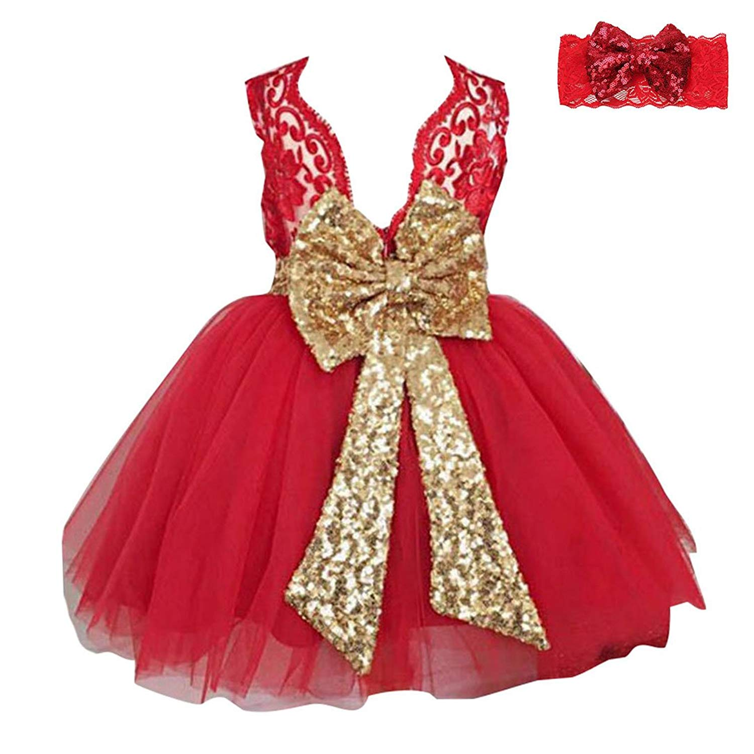 Boimoe Girls Bowknot Lace Princess Skirt Sequins Dress with Headband for Baby Toddlers Kids 0-5 years Old
