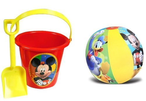 2e63d8ce6ac Get Quotations · Mickey Mouse Sand Bucket and Shovel + Beach Ball Set