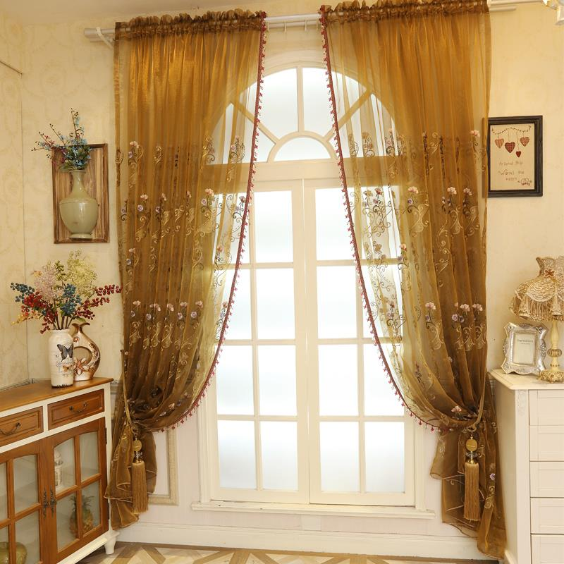 Home Decor Window Blue Luxury Sheer Curtains For The Bedroom Butterfly Embroidery Flower Tulle Free Shipping 150x260cm