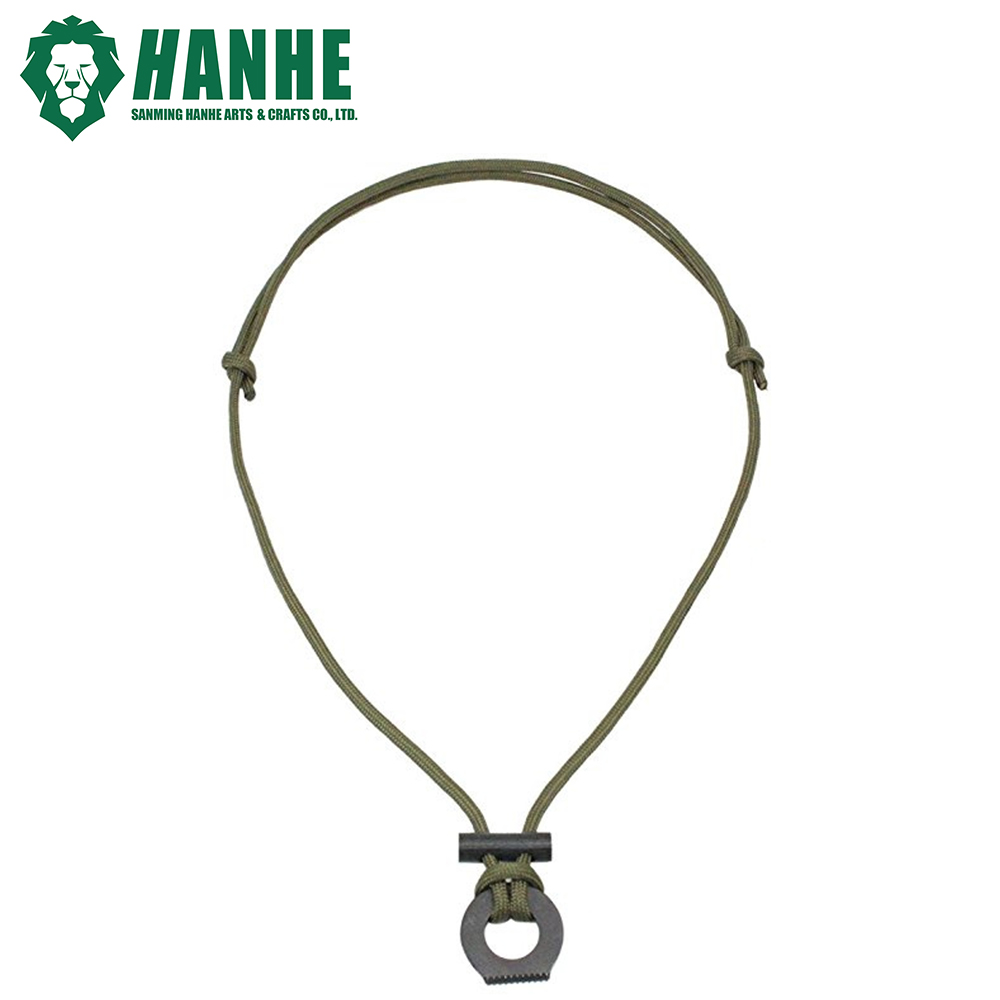 mini spark magnesium ferro rod steel scraper tool necklace paracord survival lanyard with tinder cord