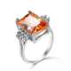 Fashion Luxury Big Champagne Square Zircon Rings for Women Jewelry