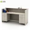 European style modern wholesale 2 person white plywood material used small beauty salon reception desk