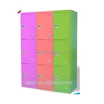 9 Door Kids Storage Cabinets Colorful Metal Preschool Furniture Multifunctional
