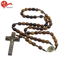 Huanan christian gifts of 8MM multi-color mixing natural wooden cord rosary
