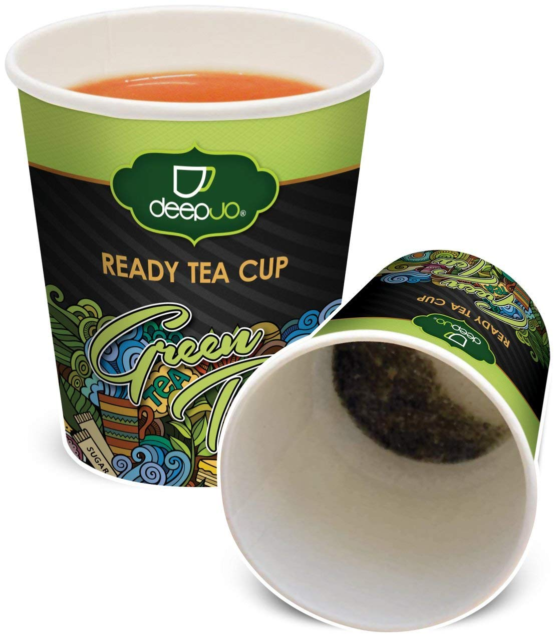 Green Tea Ready Tea Cups - 10 Disposable Paper Cups with a Single Serving of Flavorful Tea Secured at the Bottom of Each Cup - YOU'LL LOVE THE TASTE AND CONVENIENCE