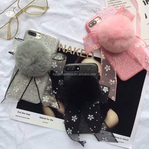 Bunny Hair Fluff Pompom Keychain Fur Phone Case Back Cover For iPhone 8 7 7plus 6 6s plus