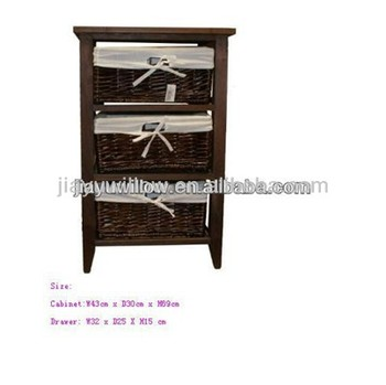 Dark Brown Wooden Storage Cabinet With Wicker Baskets