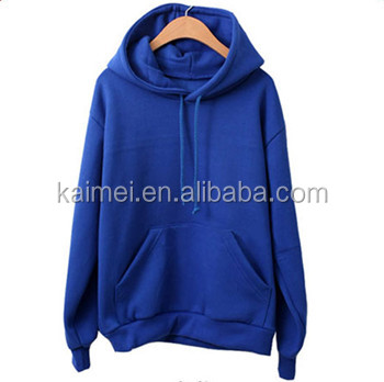 Blue Fleece Pullover With Kangaroo Pocket And Cap Cord,Hoodies ...