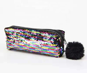 958acf0cbdb2 Reversible mermaid sequin pencil bag promotional pencil case with pompom  for kids