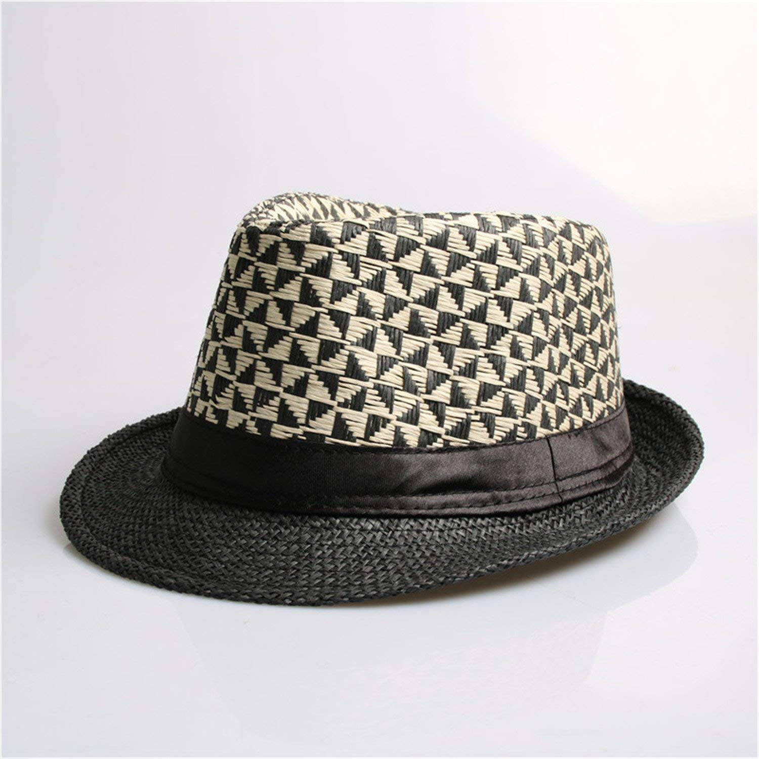 0111ed42ccc Get Quotations · Trendy Fashion Summer Straw Man and Women s Sun Hats  Fedora Trilby Gangster Cap Summer Beach Women