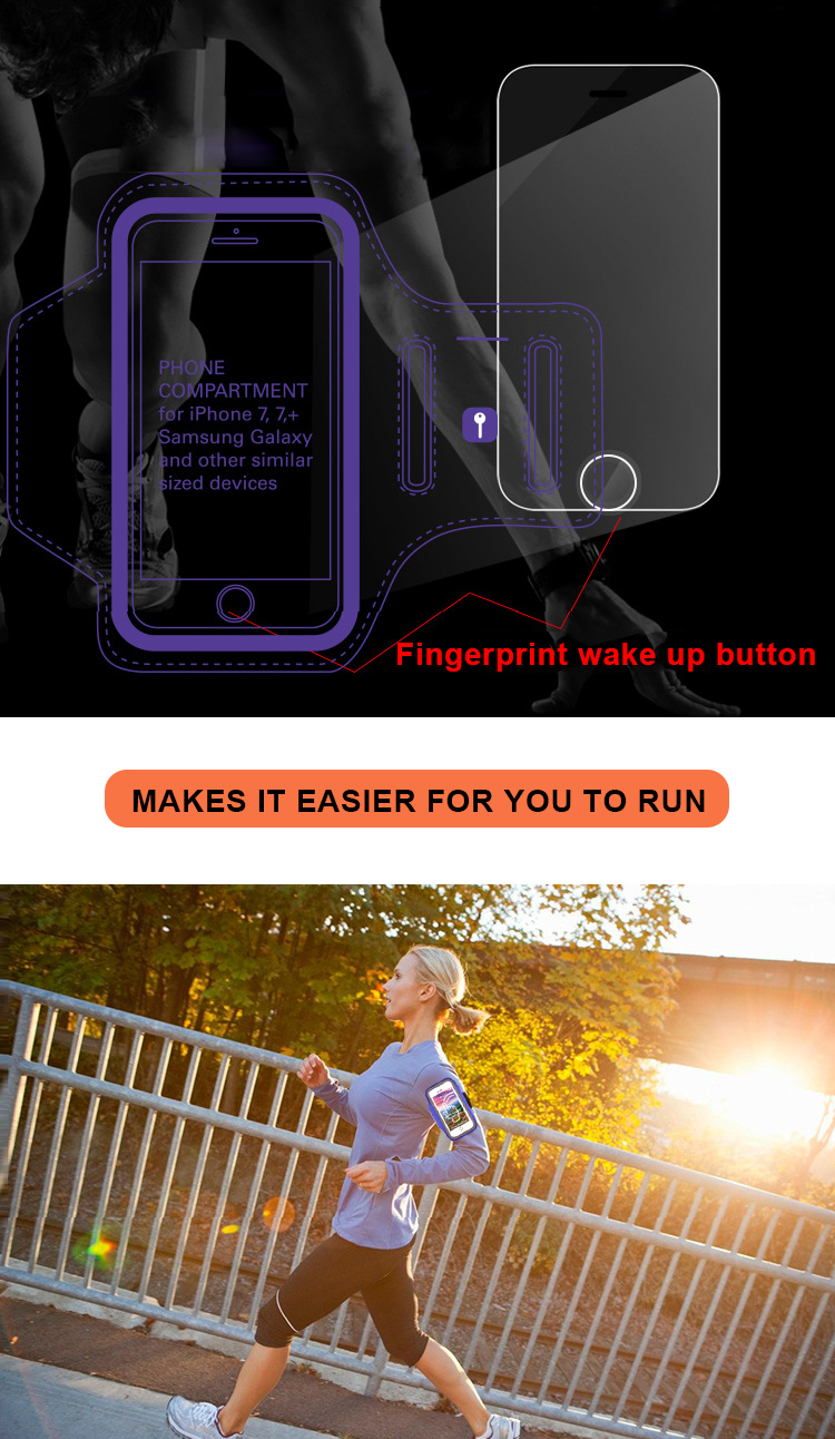 Fingerprint Unlock Customized Gym Waterproof Armband Wrist Mobile Phone Case Running Bags For Iphone 8 plus Sports Armband