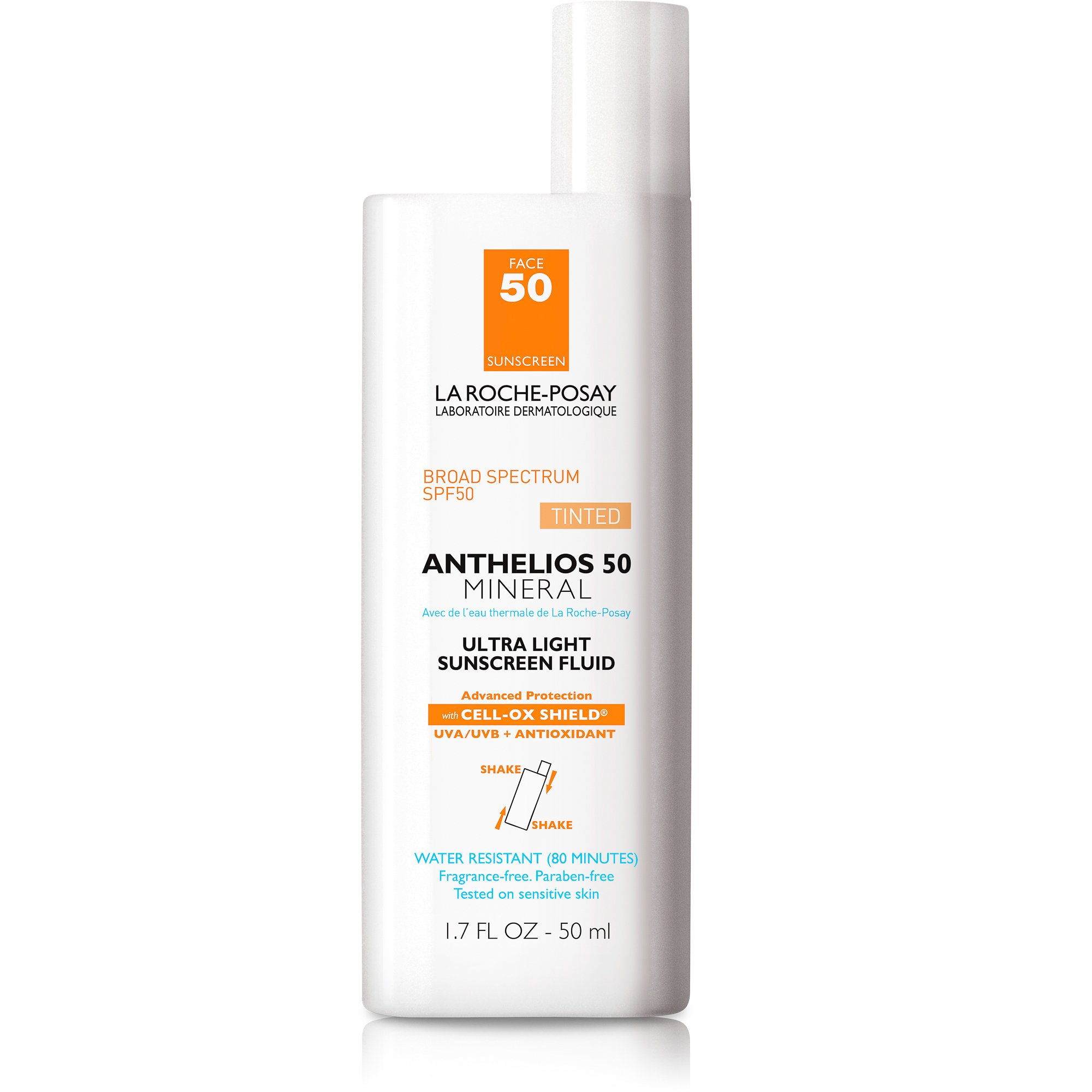 La Roche-Posay Anthelios 50 Mineral Sunscreen SPF 50 Ultra-Light Fluid Face Sunscreen for Sensitive Skin, 1.7 Fl. Oz.