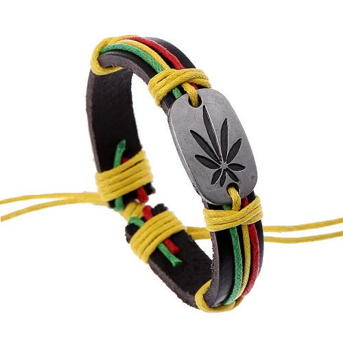 Хип-хоп стиль классический марихуана оставить браслет неподдельной кожи дамы радуга цвет конопли веревки обертывание регулируемая браслеты ID ювелирных изделий