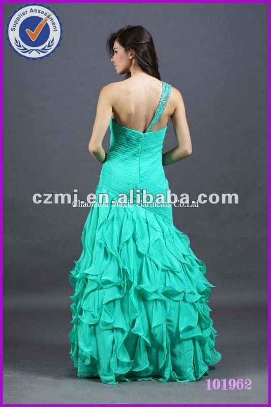 Spring 2012 beaded one-shoulder pleating long prom dress