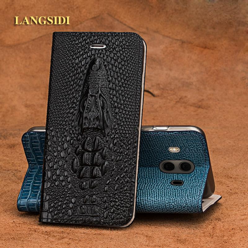 LANGSIDI brand mobile phone case crocodile head flip phone cover for Huawei mate10 full hand-made mobile phone shell