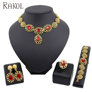 RAKOL african gold ruby earring ring big diamonds necklace jewelry set AS028