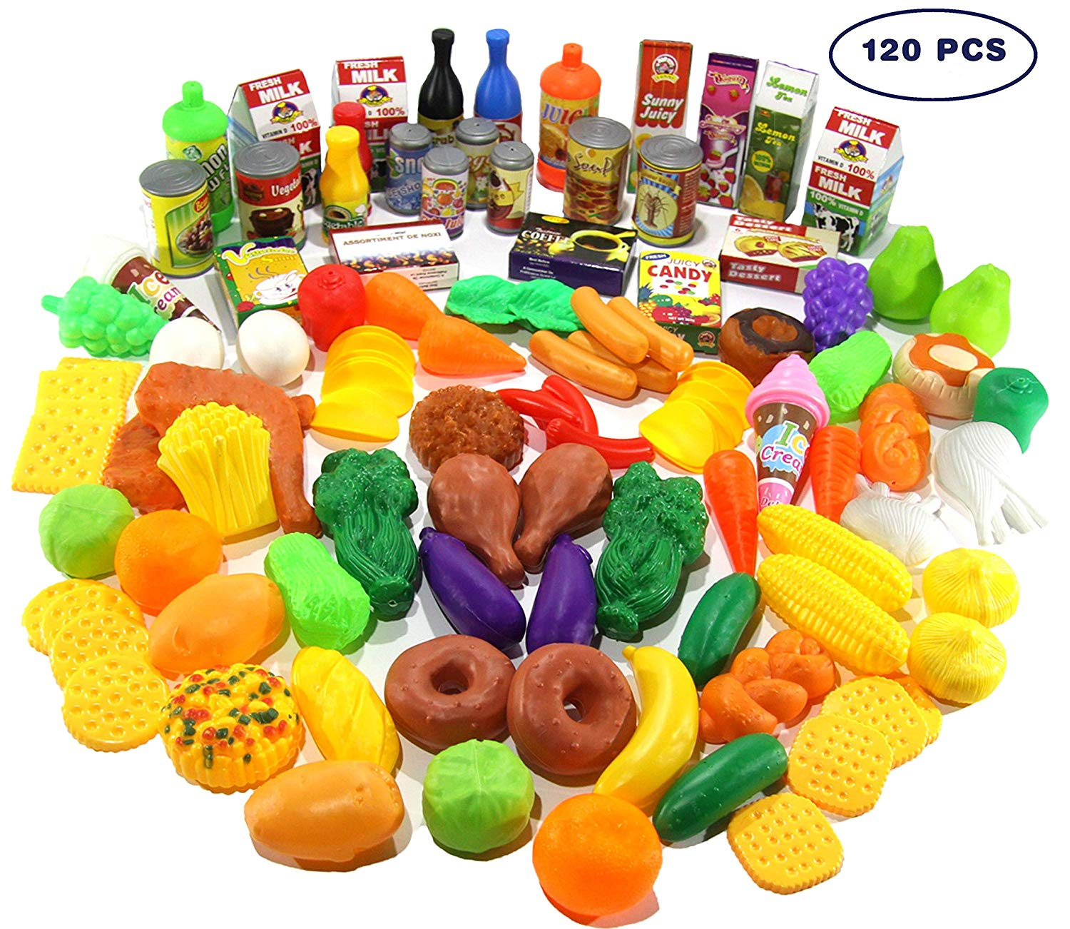 Buy Play Food Set 120 Pcs Deluxe Pretend Food Set Kids