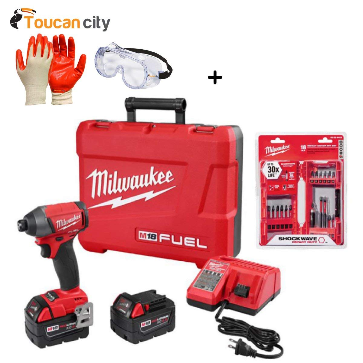Milwaukee M18 FUEL 18-Volt Lithium-Ion Brushless Cordless 1/4 in. Hex Impact Driver Kit with Shockwave Bit Set (18-Piece) 2753-22-48-32-4403 and Toucan City Nitrile Dip Gloves (5-Pack), Safety Goggle