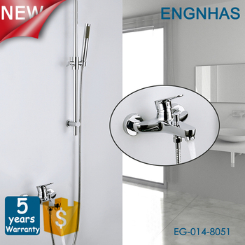 Modern exposed wall mounted chrome brass shower set faucet