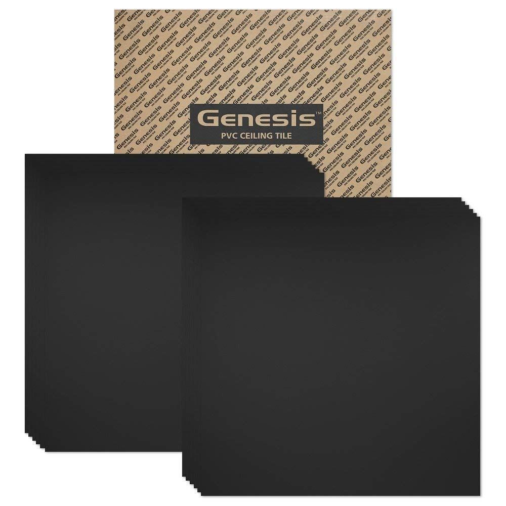 Genesis - Smooth Pro Black 2x2 Ceiling Tiles 4 mm thick – These 2'x2' Drop Ceiling Tiles are Water Proof and Won't Break - Fast and Easy Installation (carton of 12)