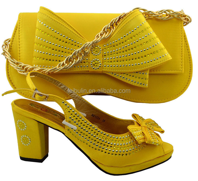 New style YELLOW african shoes and bags set free shipping,beautiful 8.9CM square high <strong>heel</strong> with bag to match dress,MM1034 8color