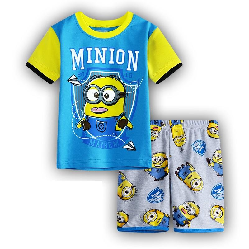kids spring pajamas boy girl kids short sleeve pajama set baby sleepwear Despicable Me pyjamas