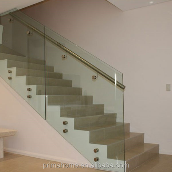 Best selling crystal modern design stair railing with standoff frameless glass balustrade