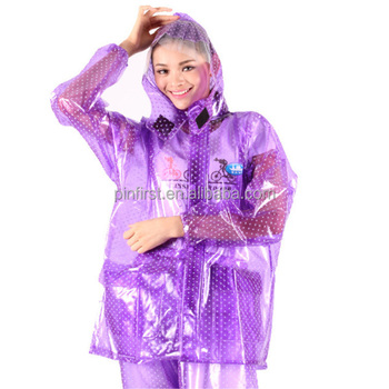 7eb56a900 Purple Women's Raincoat Girls Clear Fashion Rain Coat Thicken&Transparent