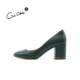 Design Handmade Vintage Women Shoes High Heels Genuine Leather Ladies Pumps Thick Heels Girls Dress Shoes