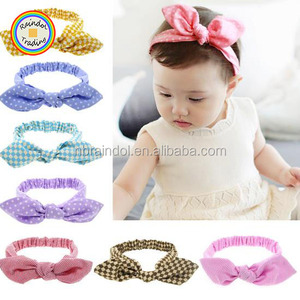 LGWO140 RDT Hottest Sale Korean Type Dots Printed Baby Rabbit Ear Headbands with Cute Bowknot