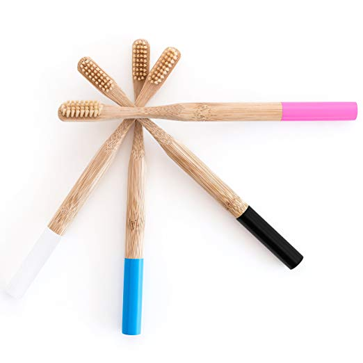 <strong>Bamboo</strong> eco friendly toothbrush with <strong>bamboo</strong> round colorful handle soft nylon bristles