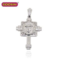 Personality trend lion shape male charm necklace pendant crystal silver cross